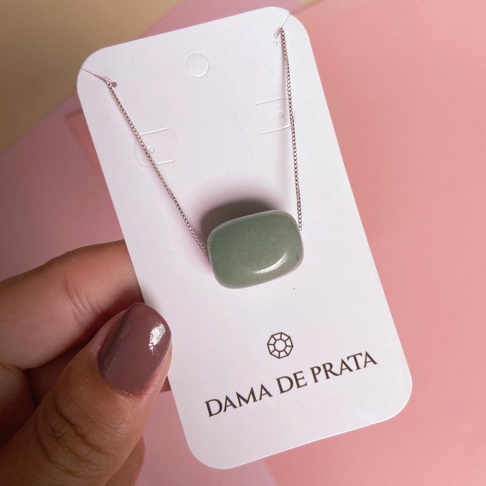 Colar Quartzo Verde Prata 925 Quadrado