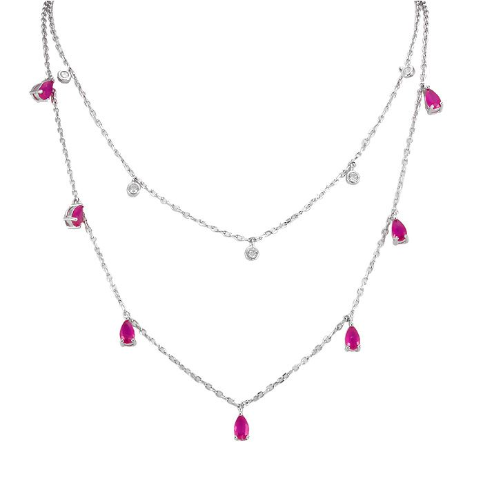8ff5fa66ded Colar Tiffany Ponto de Luz Zircônia Rubi e Cristal Prata 925