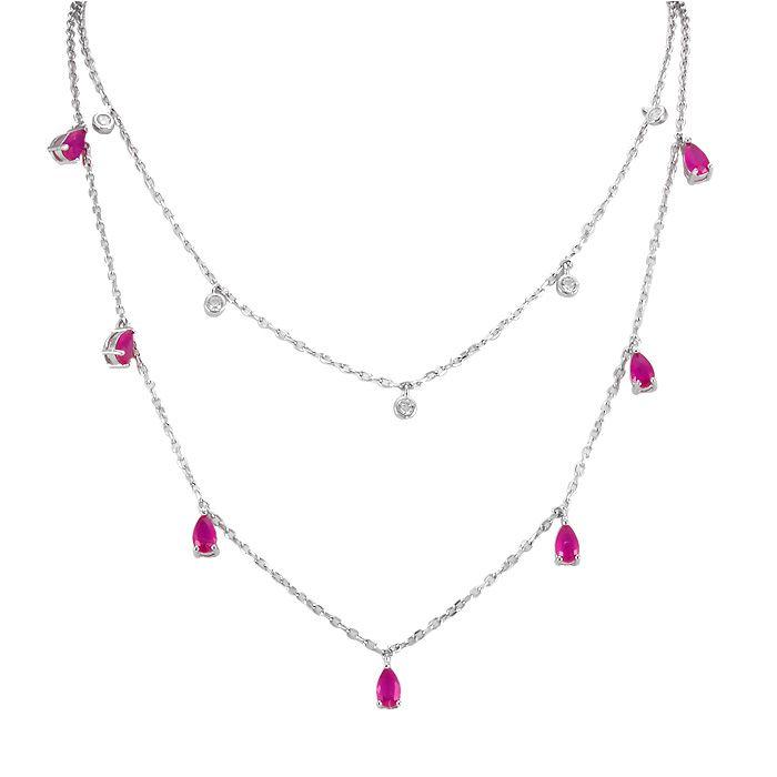 Colar Tiffany Ponto de Luz Zircônia Rubi e Cristal Prata 925