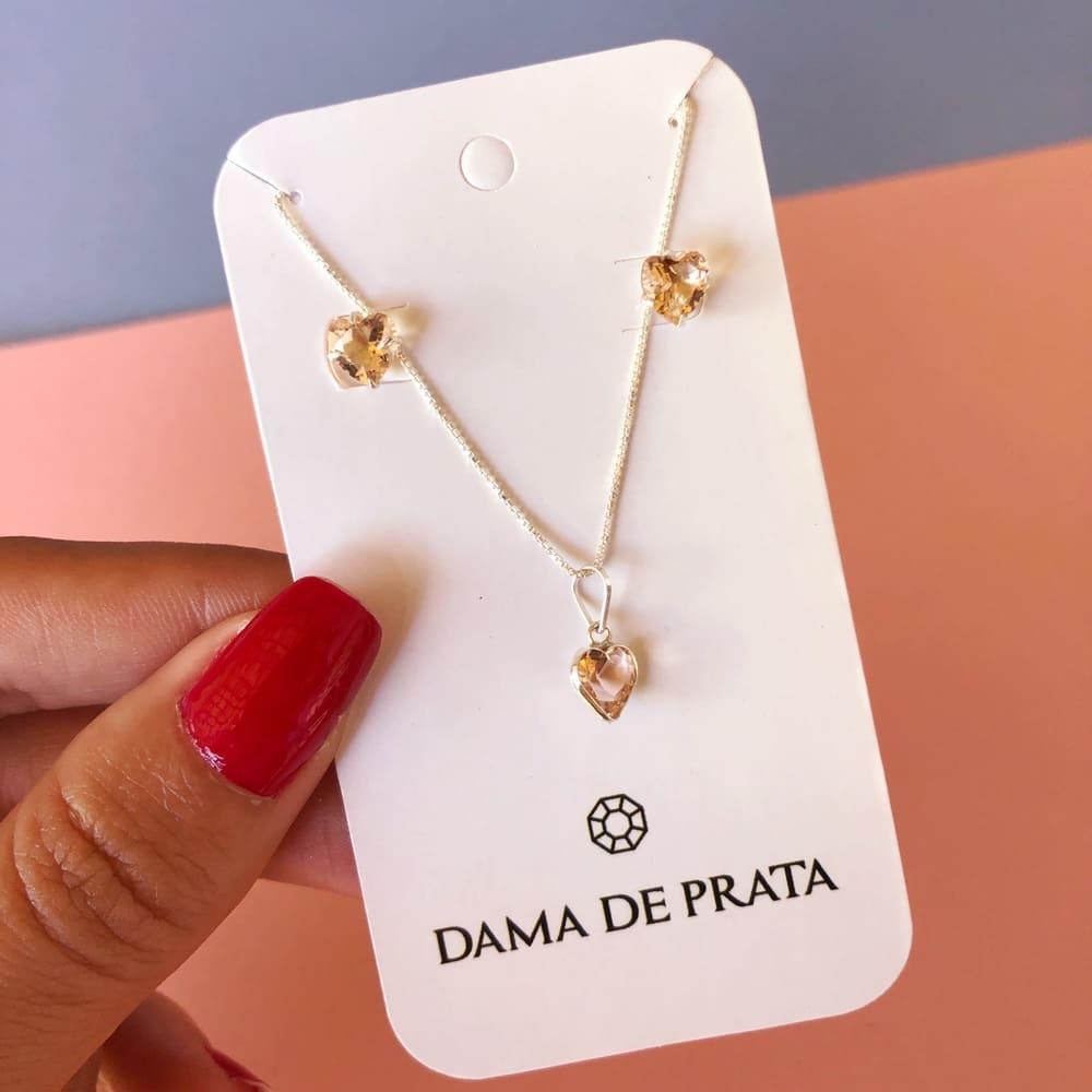 Conjunto Coração Prata 925 Rosé Gold