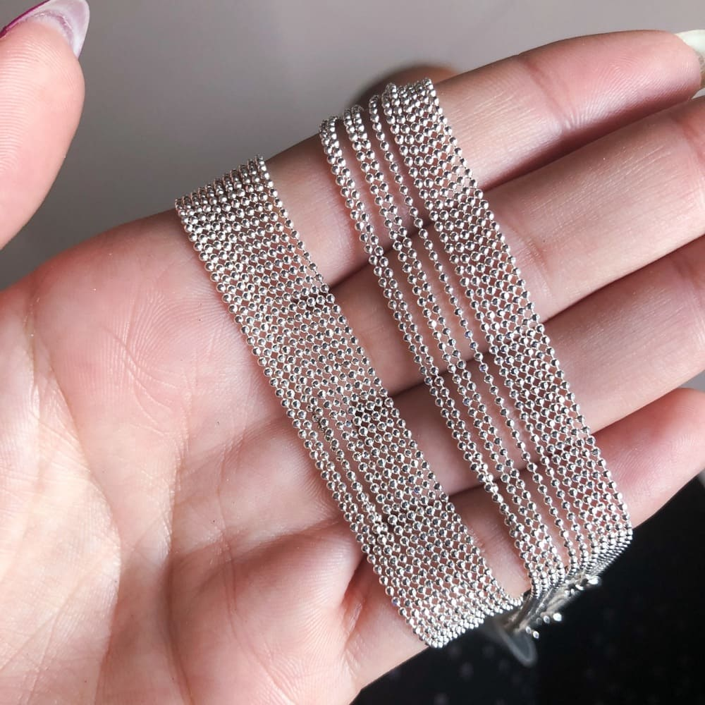 Corrente 40 cm Prata 925 Bolinhas