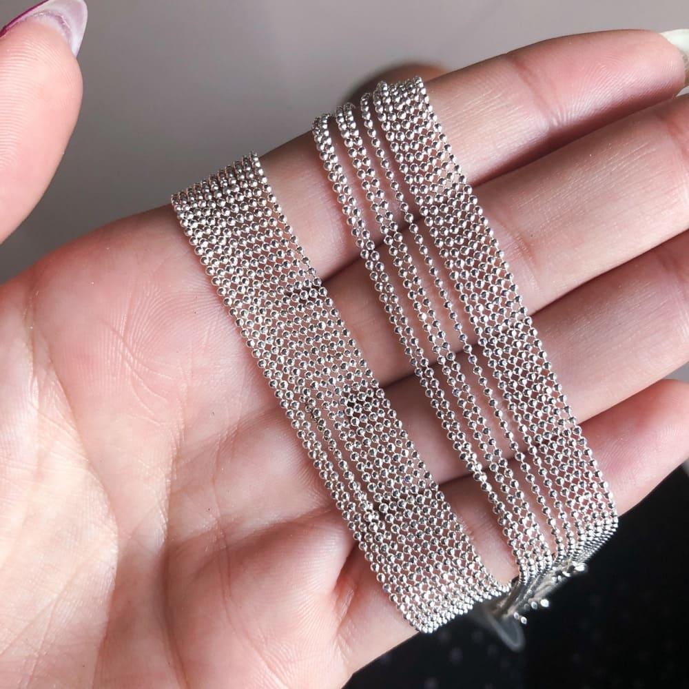 Corrente 45 cm Prata 925 Bolinhas