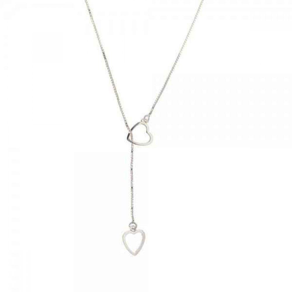 Gargantilha Gravata Coração em Prata 925