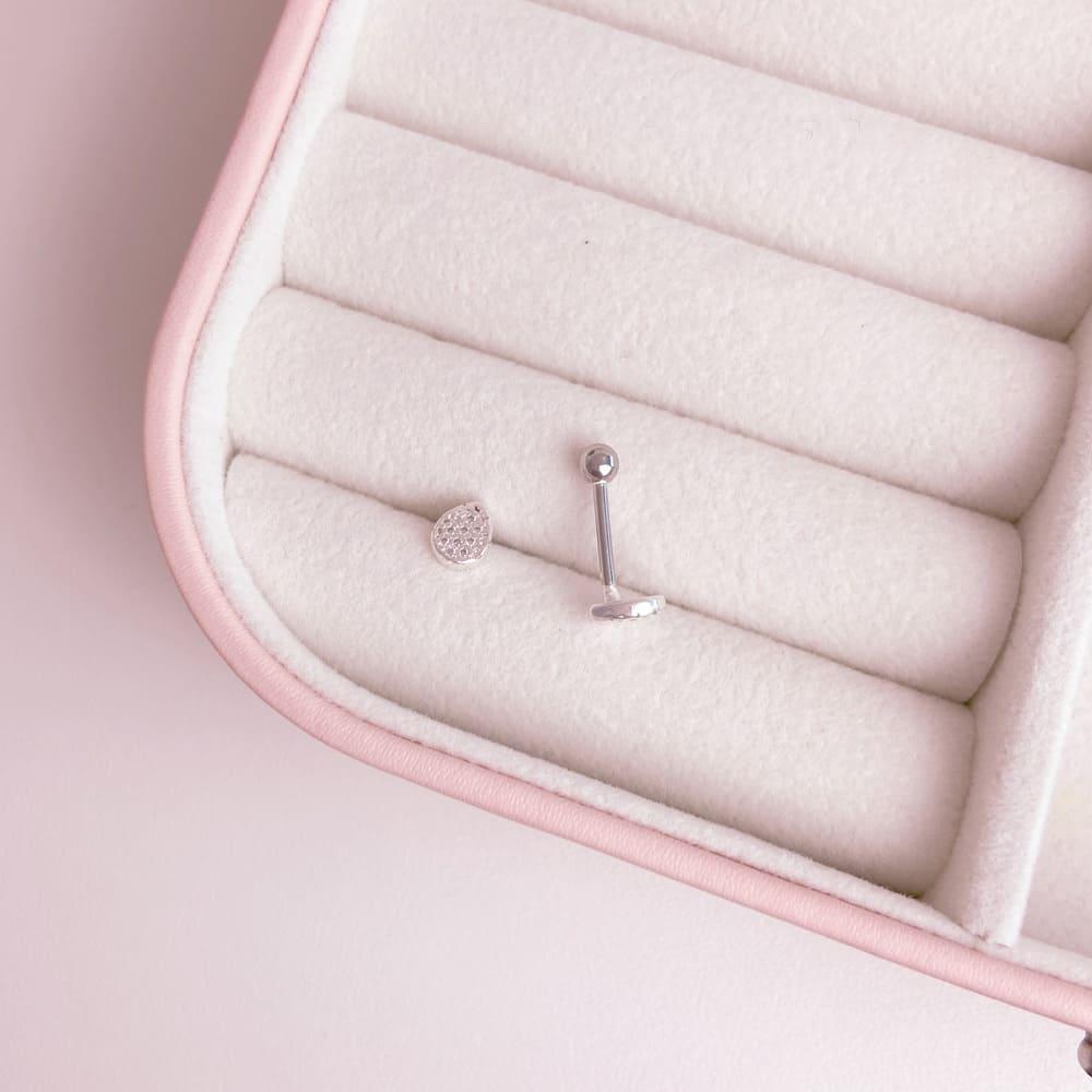 Piercing Gota Trágus Prata 925 Aço Cirúrgico