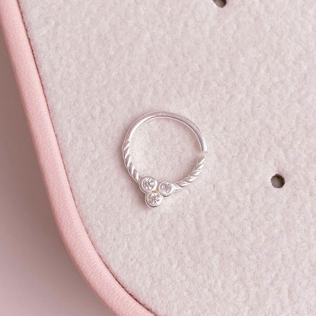 Piercing Septo Cartilagem Prata 925 com zircônia