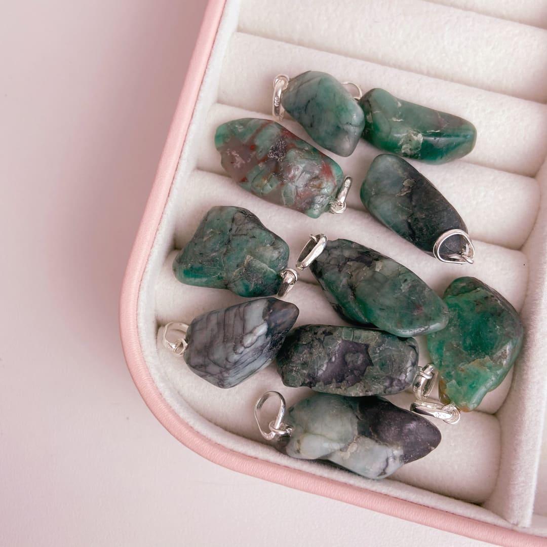 Pingente Esmeralda Prata 950 Pedra Natural Rolada