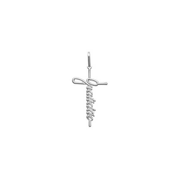 Pingente Gratidão Cruz Prata 925