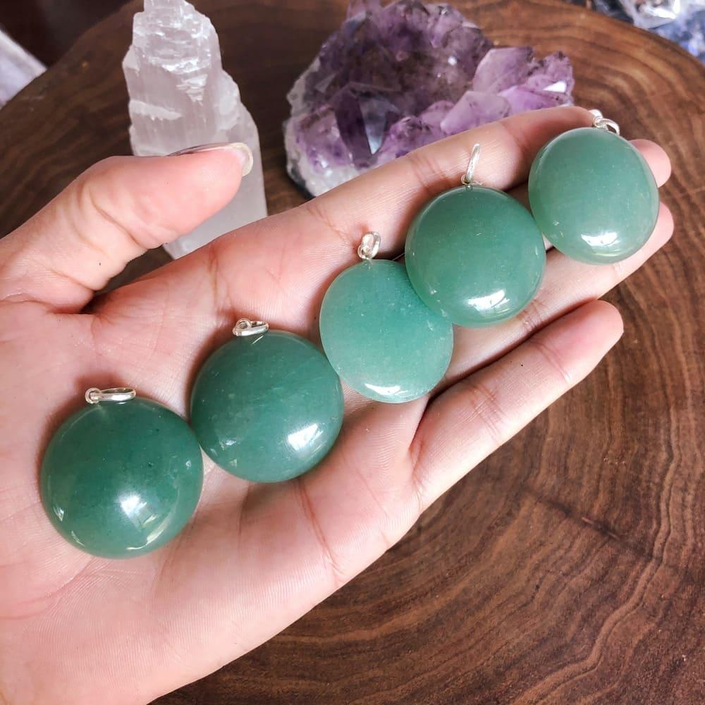 Pingente Quartzo Verde Prata 950