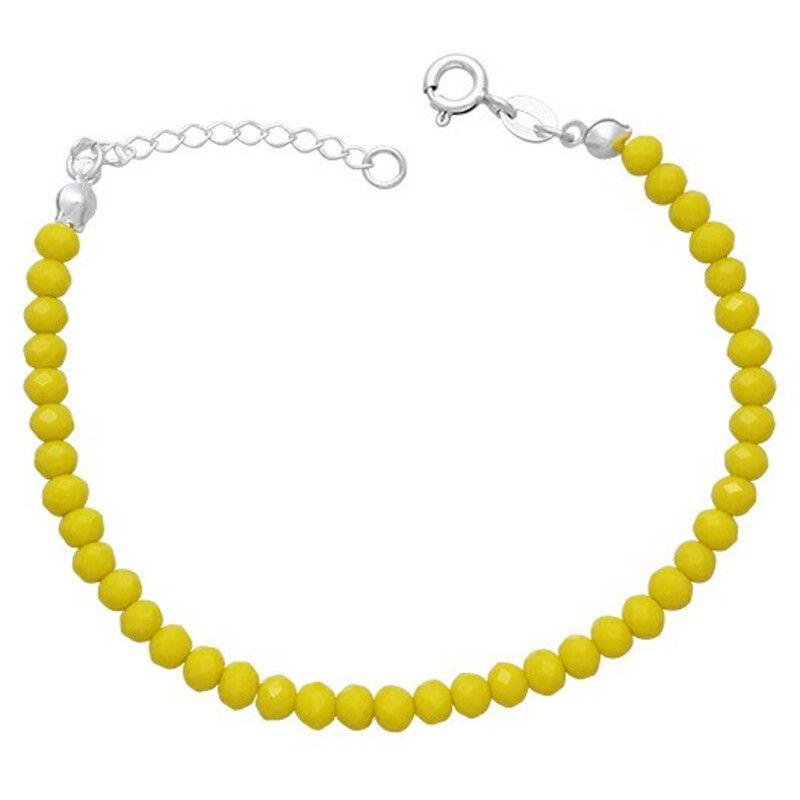 Pulseira Miçanga Amarela Prata 925