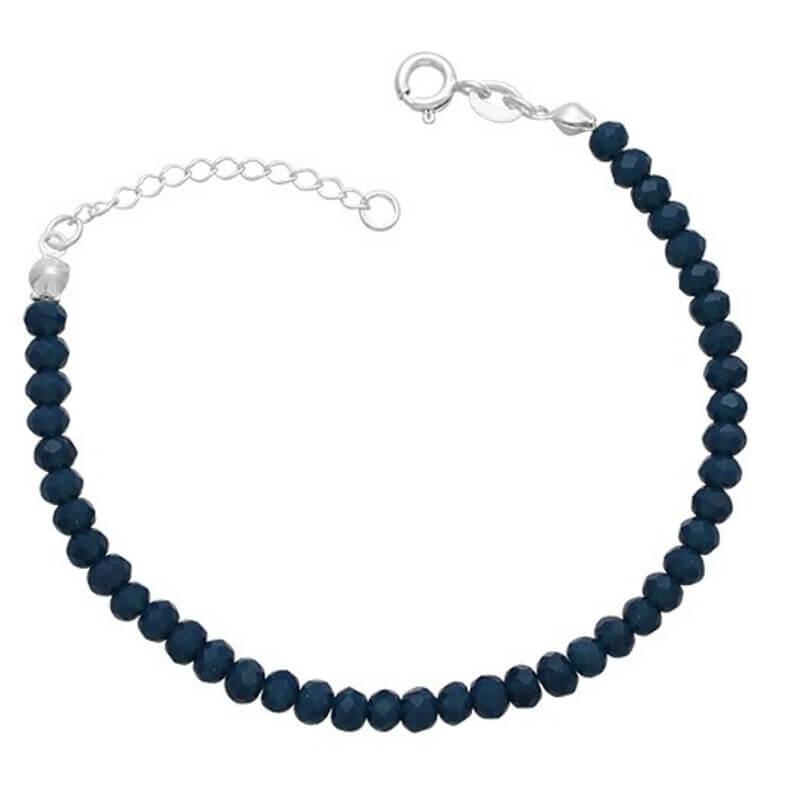 Pulseira Miçanga Azul Prata 925