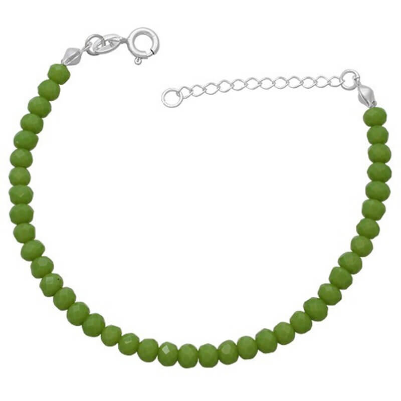 Pulseira Miçanga Verde Prata 925