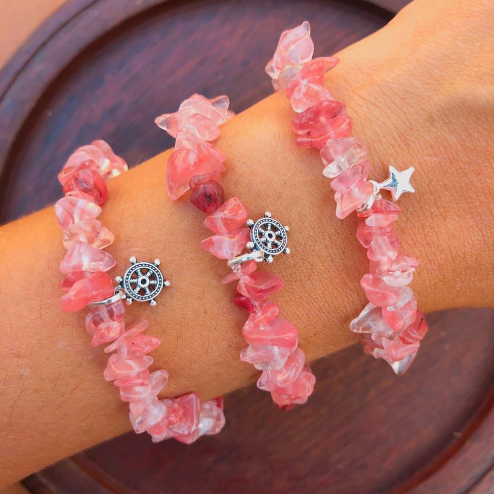 Pulseira Pedras Naturais Cherry Rosa Prata 925