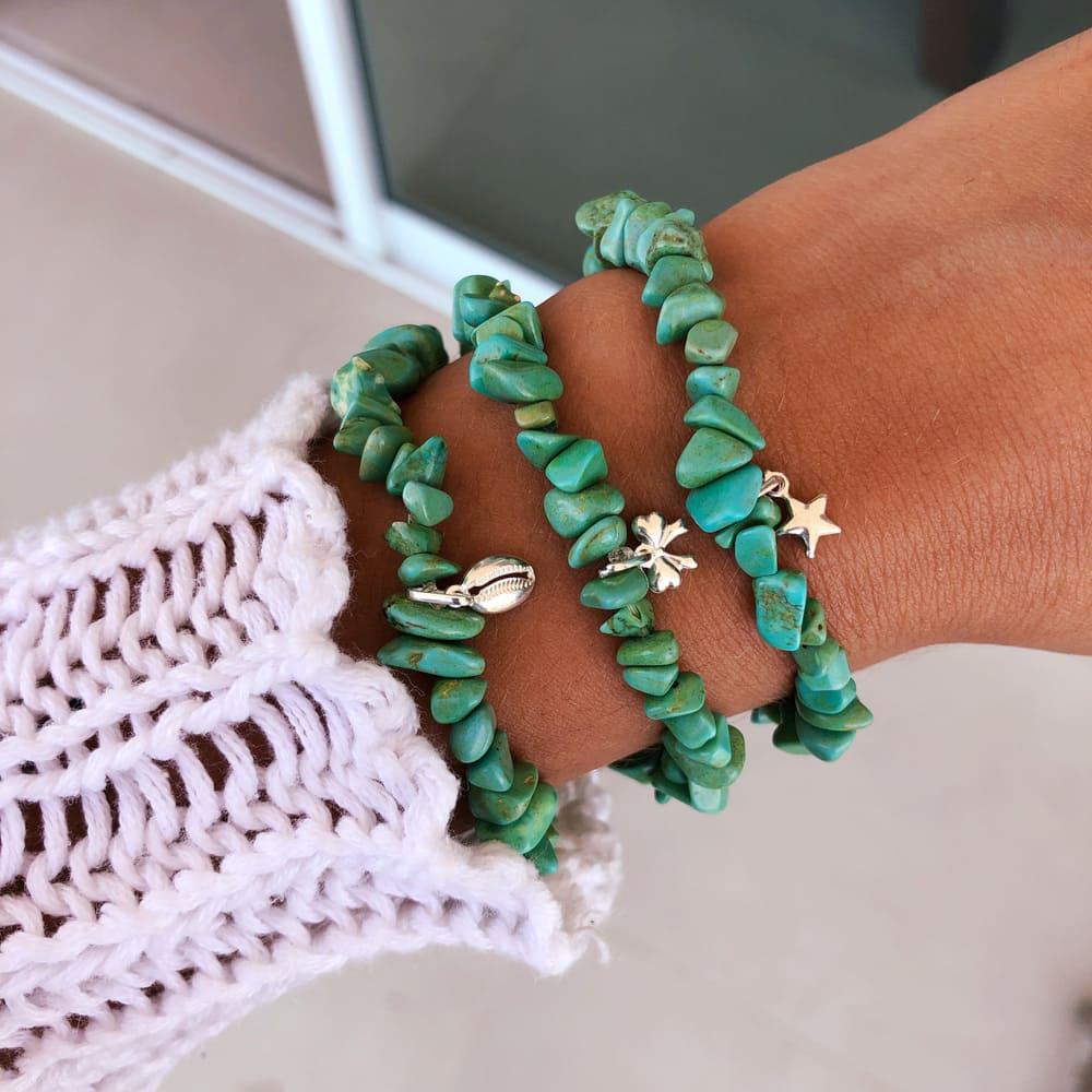 Pulseira Pedras Naturais Jade Verde Prata 925