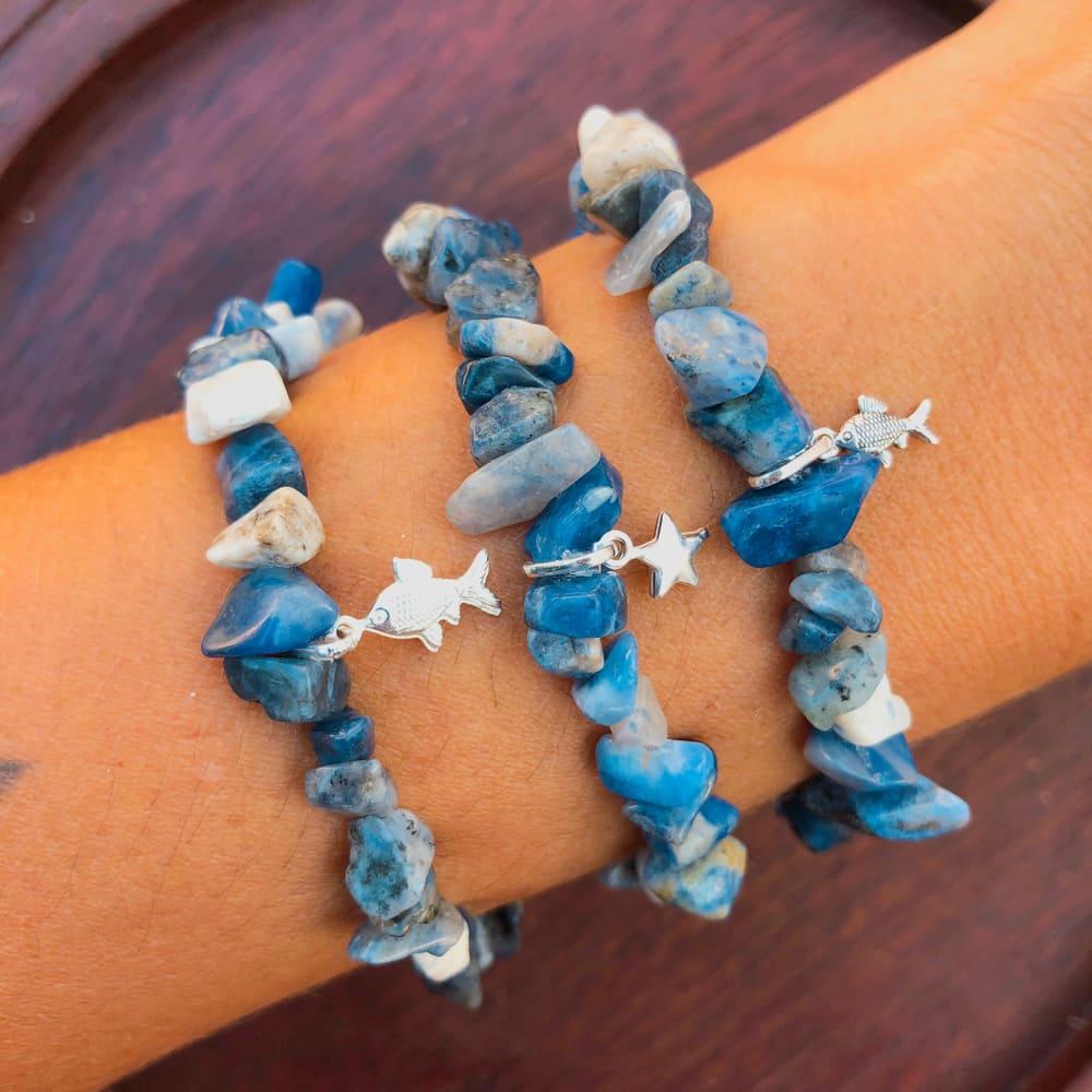 Pulseira Pedras Naturais Sodalita e Quartzo Azul Prata 925