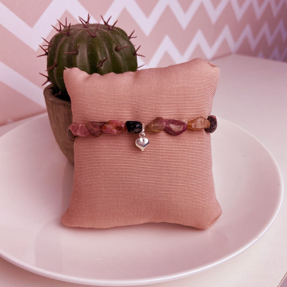 Pulseira Pedras Naturais Turmalina Rosa Prata 925