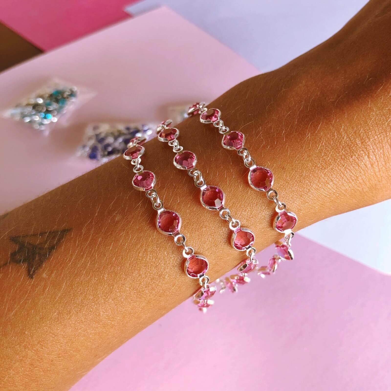 Pulseira Zircônias coloridas Prata 925 Rosa