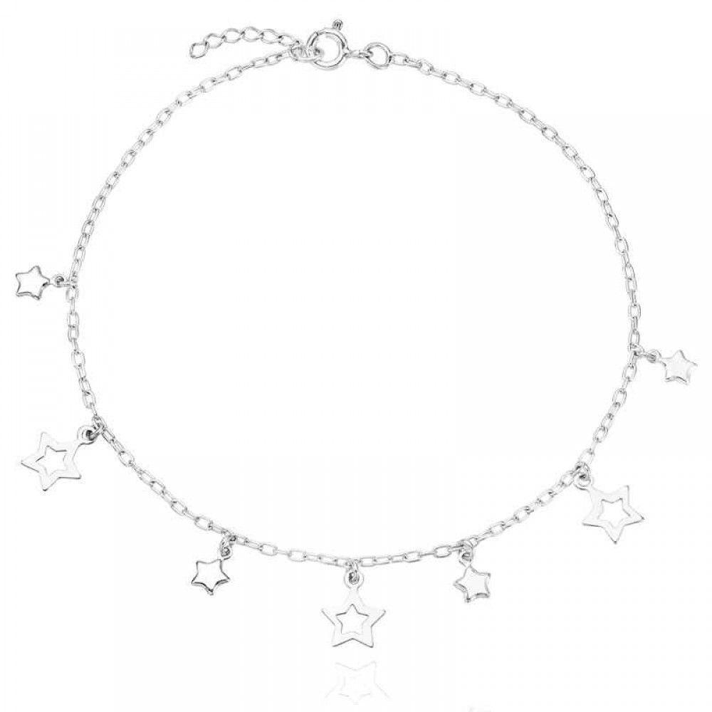 Tornozeleira Estrelas Prata 925