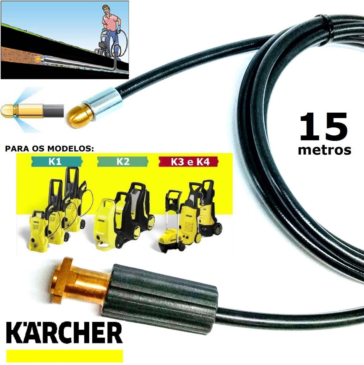 Mangueira desentupidora de tubulação para Karcher 15 Metros - k1 , k2 , k3 , k4 , k5