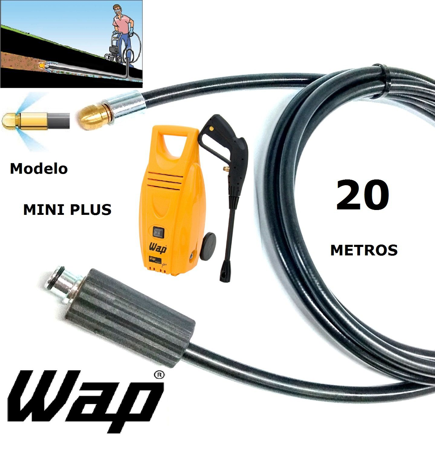Mangueira desentupidora de tubulação WAP - 20 Metros - Wap MINI PLUS