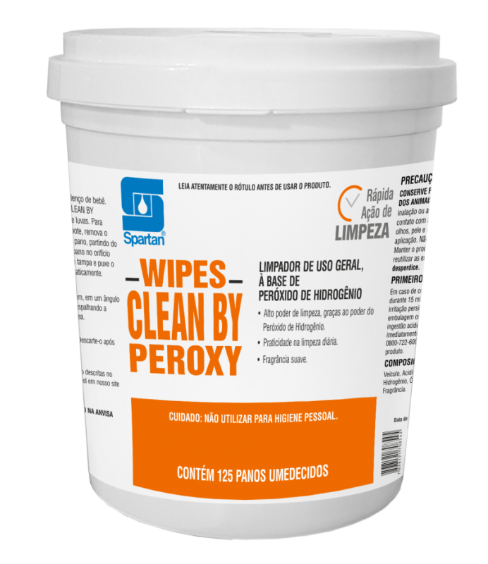 Wipes Clean By Peroxy 125 unidades - Spartan
