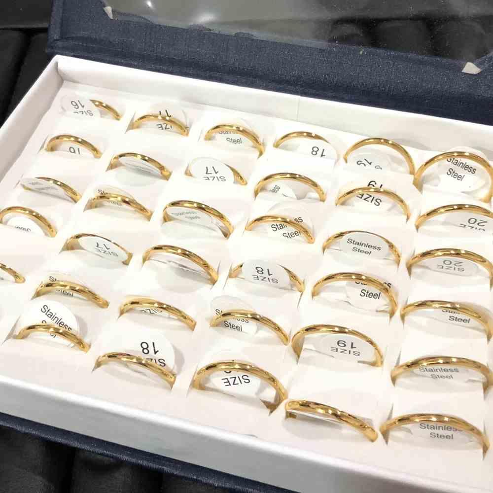 anéis alianças abaulada 2mm dourada polida lisa aço inoxidável 316L caixa com 36 unidades alianças atacado
