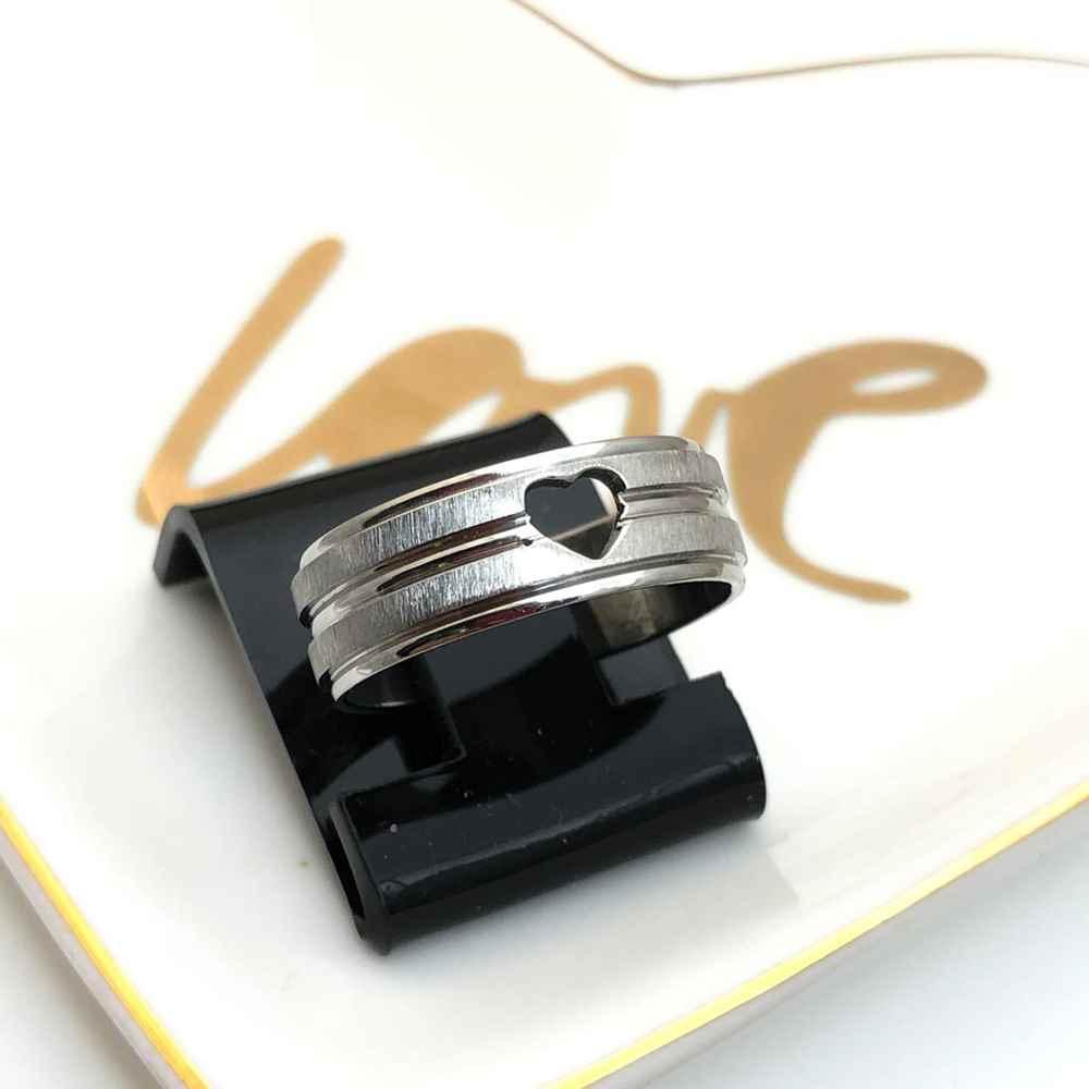 Anel aliança em aço inoxidável coração prata 8mm