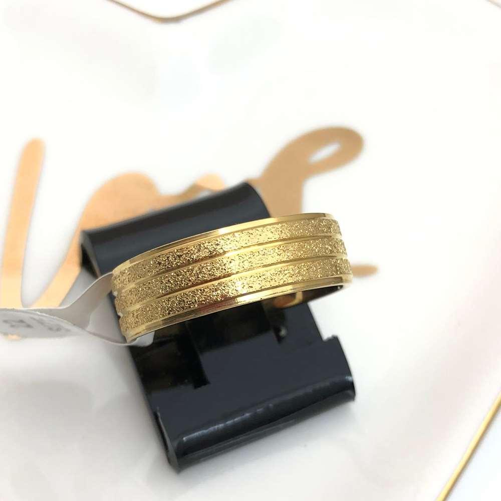 Anel aliança em aço inoxidável dourada 8mm