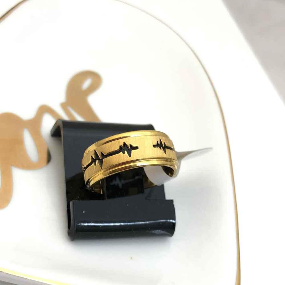 Anel aliança em aço inoxidável dourada batimentos cardiacos 8mm