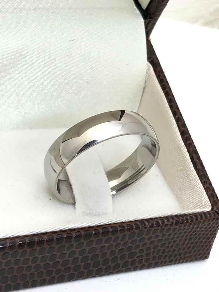 Anel aliança em aço inoxidável prata 6mm