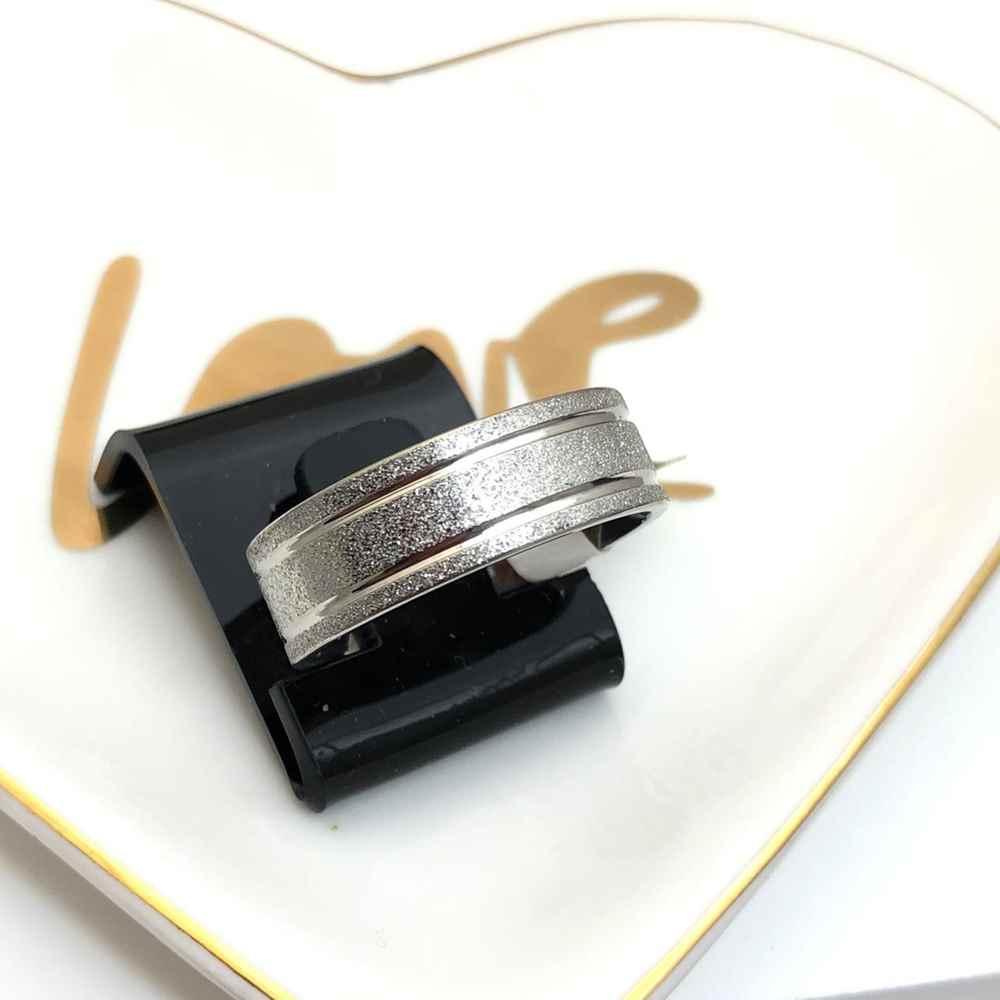 Anel aliança em aço inoxidável prata 8mm