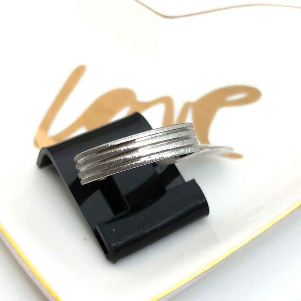Anel aliança em aço inoxidável prata aço escovado 6mm