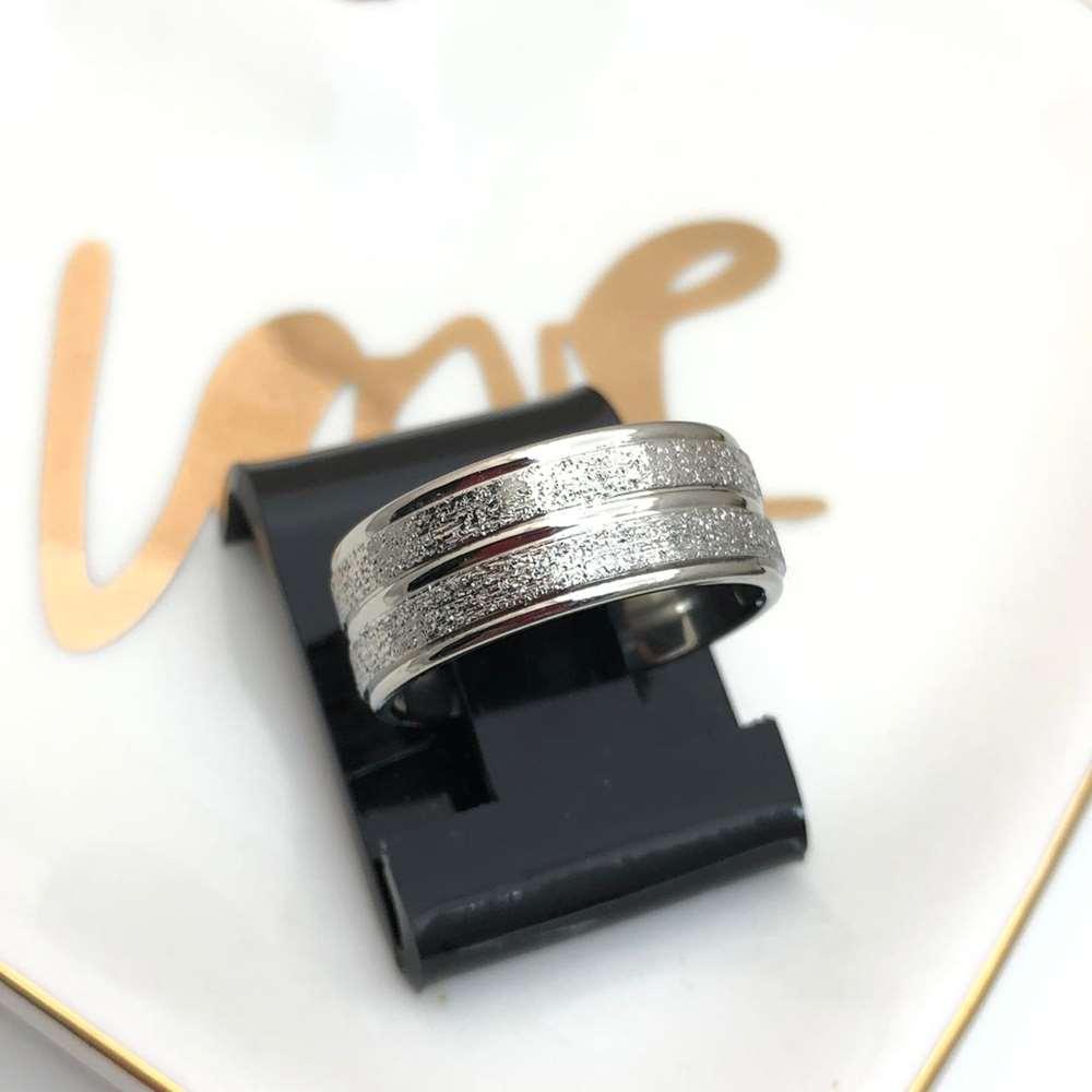 Anel aliança em aço inoxidável prata diamantada 8mm