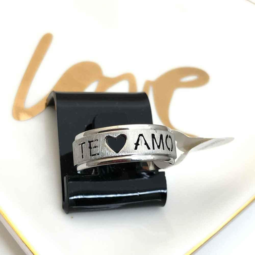 Anel aliança em aço inoxidável prata TE AMO 8mm