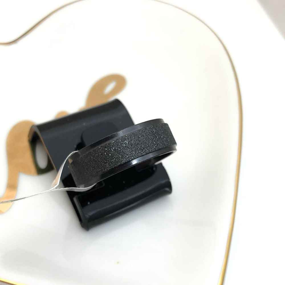 Anel aliança em aço inoxidável preta 8mm