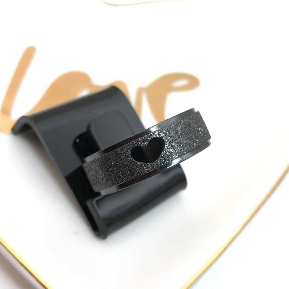 Anel aliança em aço inoxidável preto 8mm coração