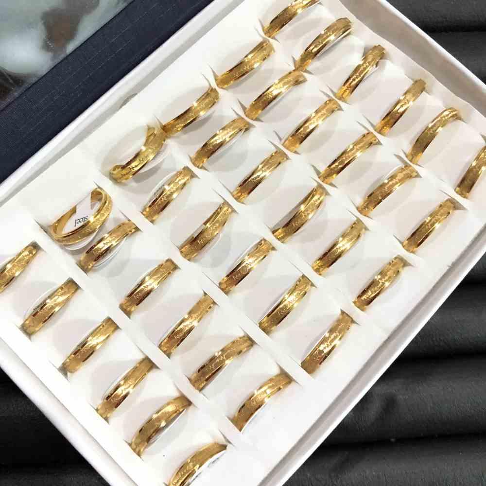 Anel Alianças 4mm aço escovado coração e batimentos dourada aço inoxidável 316L caixa com 36 unidades alianças atacado