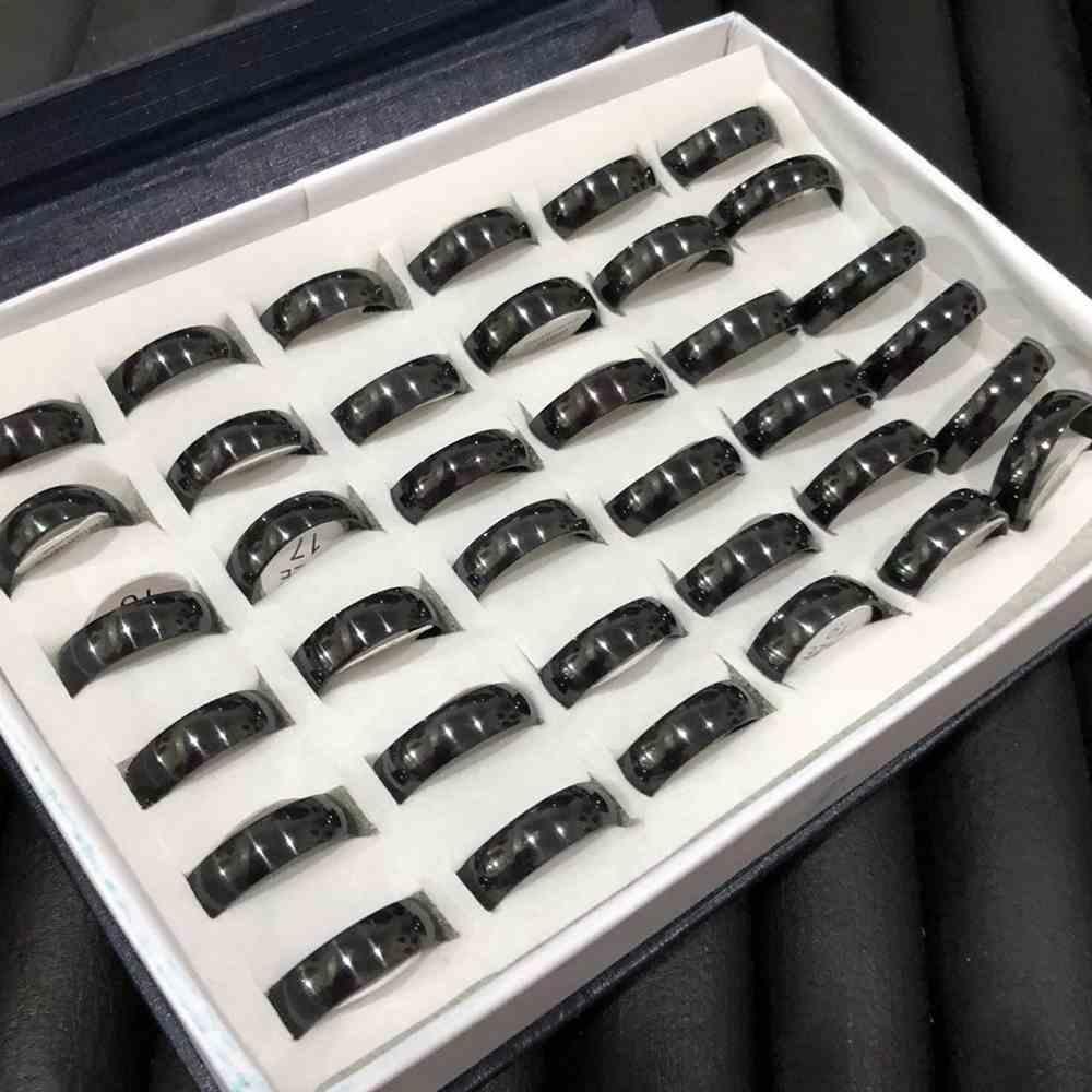 Anel alianças 6mm abaulada preta lisa aço inoxidável 316L caixa com 36 unidades alianças atacado