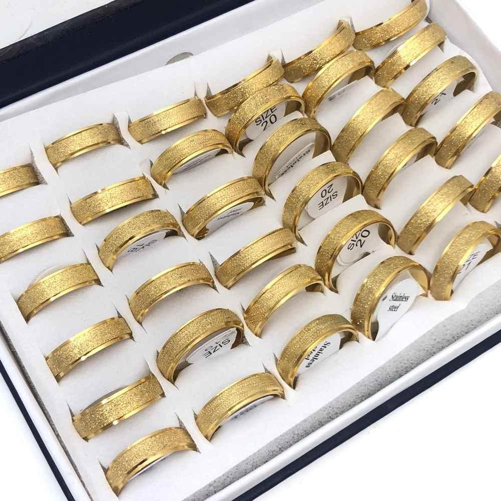 Anel alianças 6mm dourada jateada aço inoxidável 316L caixa com 36 unidades alianças atacado