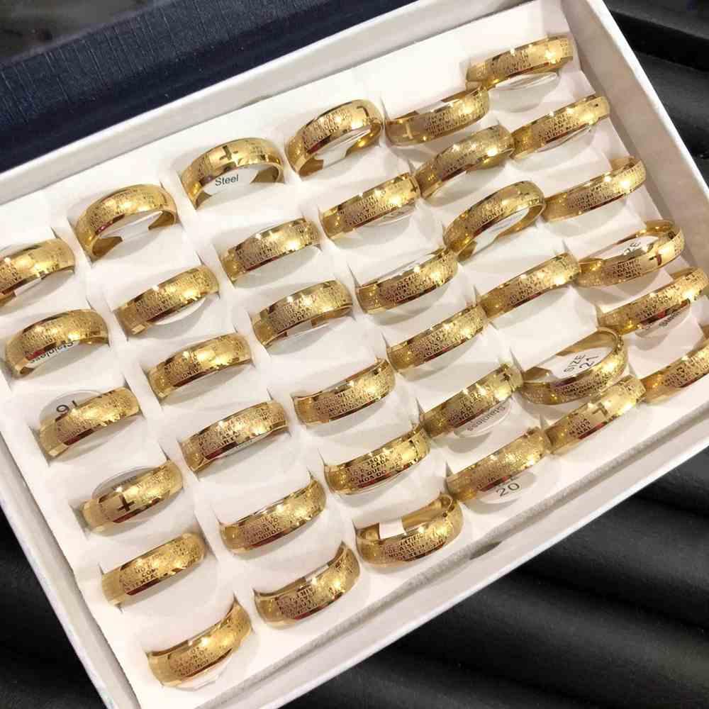 Anel alianças 6mm oração pai nosso abaulada dourada aço inoxidável 316L caixa com 36 unidades alianças atacado