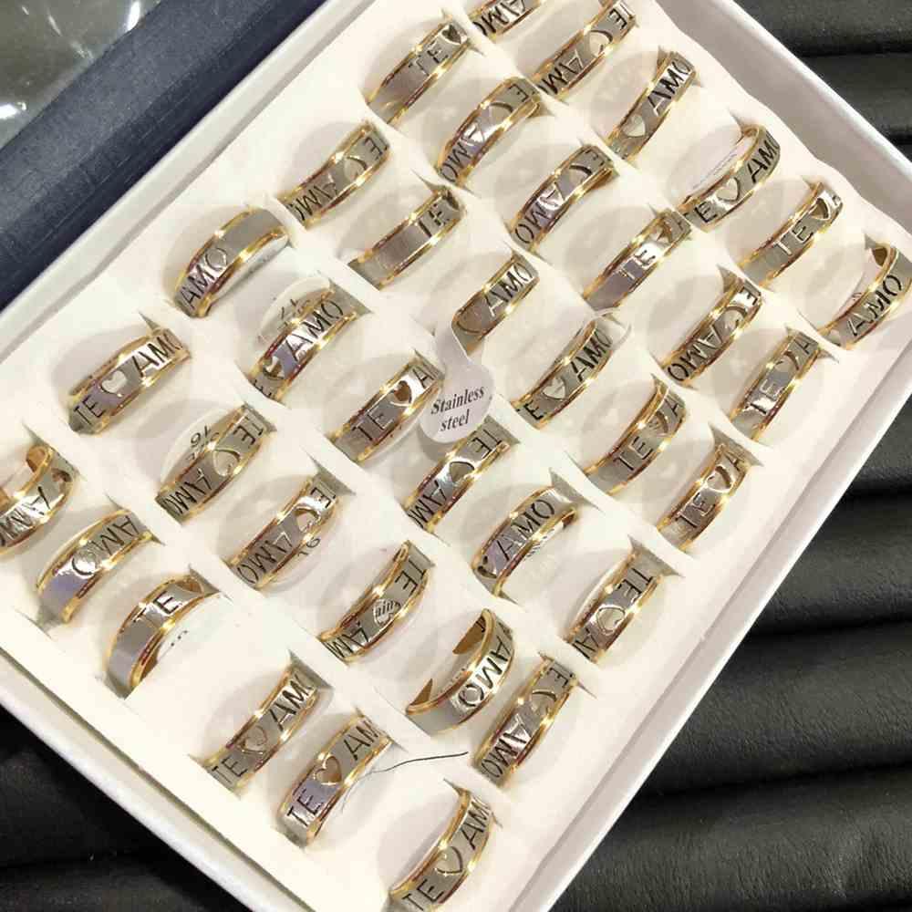 Anel alianças 6mm prata e dourada aço escovado te amo aço inoxidável 316L caixa com 36 unidades alianças atacado