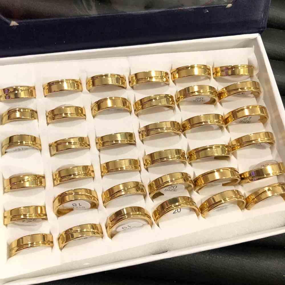 Anel alianças 6mm quadrada dourada polida friso transversal aço inoxidável 316L caixa com 36 unidades alianças atacado