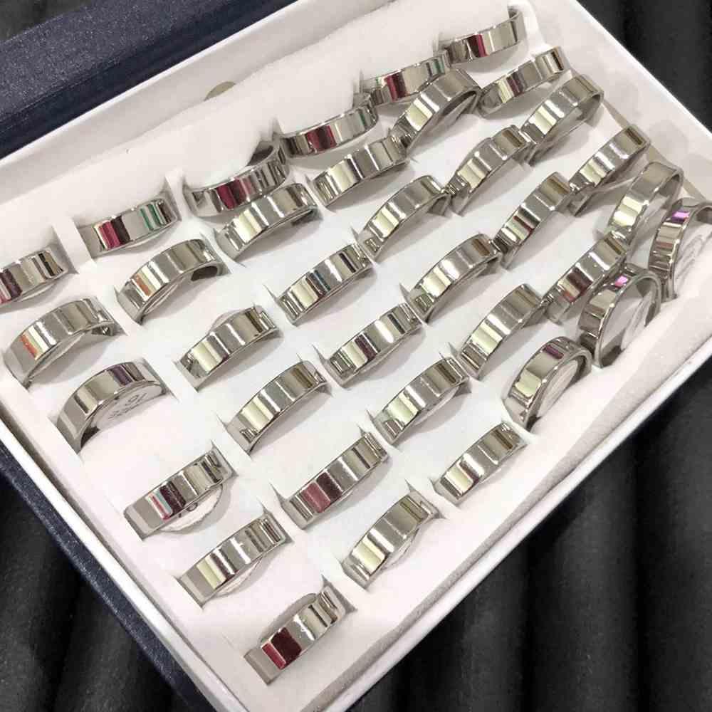Anel alianças 6mm quadrada prata lisa polida aço inoxidável 316L caixa com 36 unidades alianças atacado