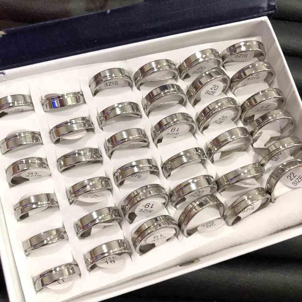 Anel alianças 6mm quadrada prata polida friso transversal aço inoxidável 316L caixa com 36 unidades alianças atacado