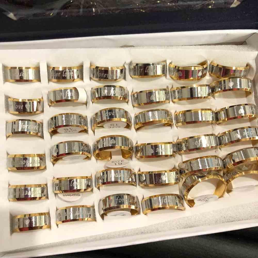 Anel alianças 8mm dourada e prata Forever Love aço inoxidável 316L caixa com 36 unidades alianças atacado