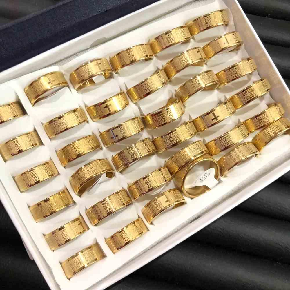 Anel alianças 8mm oração do pai nosso dourada aço inoxidável 316L caixa com 36 unidades alianças atacado