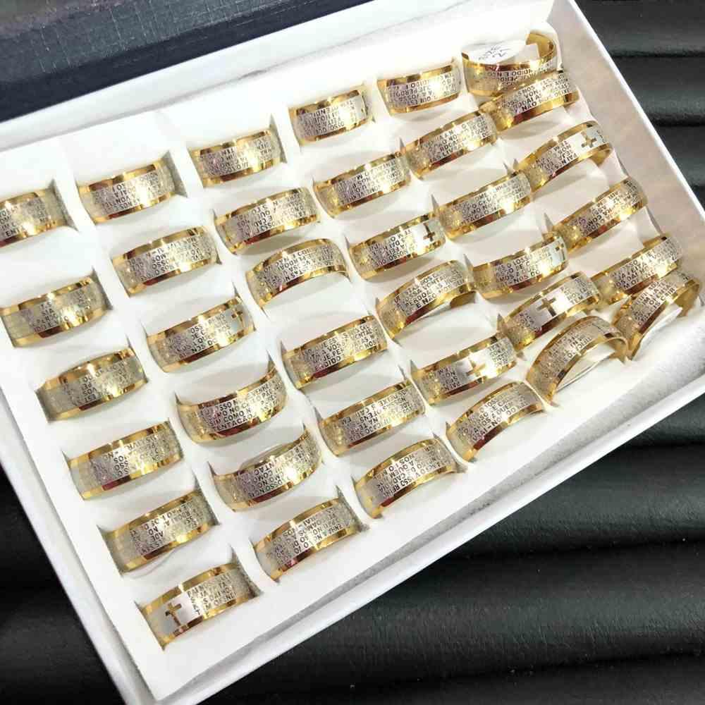 Anel alianças 8mm oração pai nosso abaulada dourada e prata aço inoxidável 316L caixa com 36 unidades alianças atacado