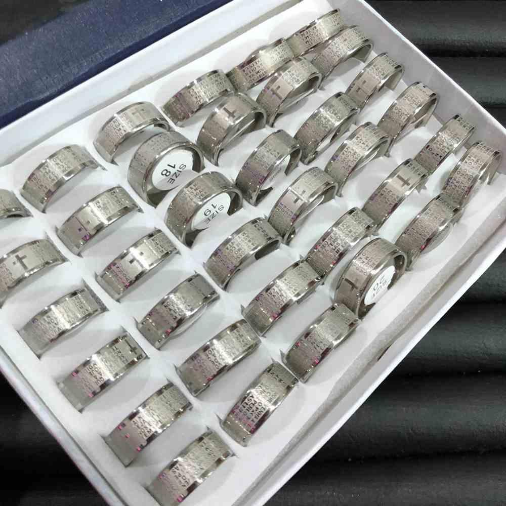 Anel alianças 8mm oração pai nosso prata aço inoxidável 316L caixa com 36 unidades alianças atacado