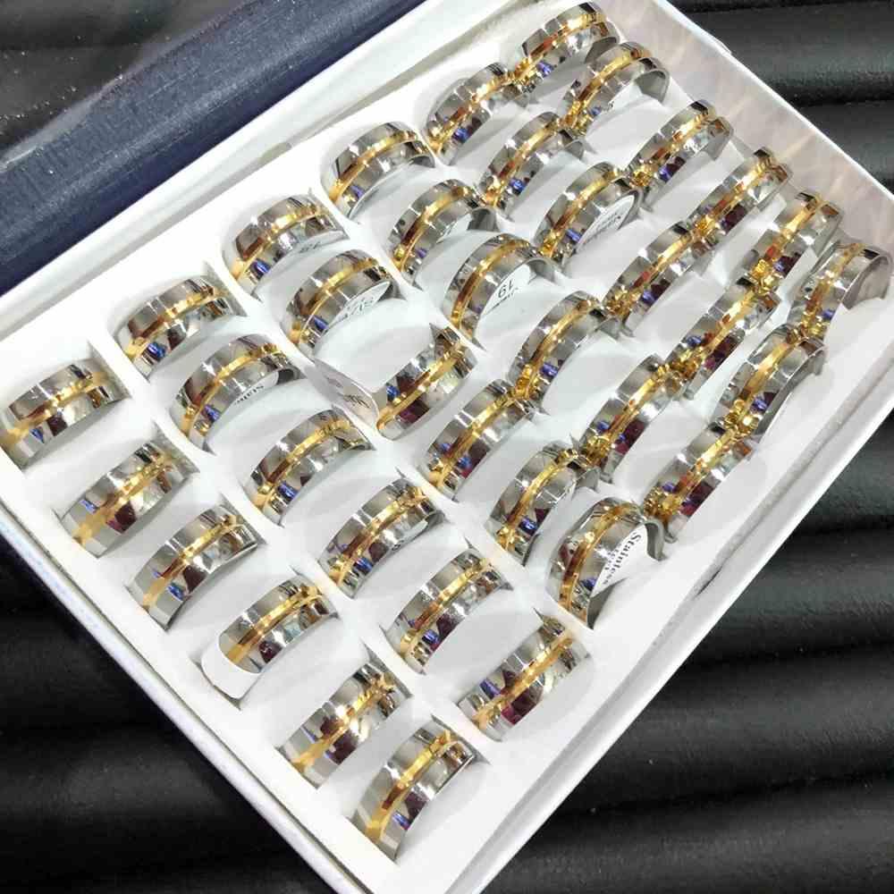 Anel alianças 8mm prata abaulada com friso dourado aço inoxidável 316L caixa com 36 unidades alianças atacado