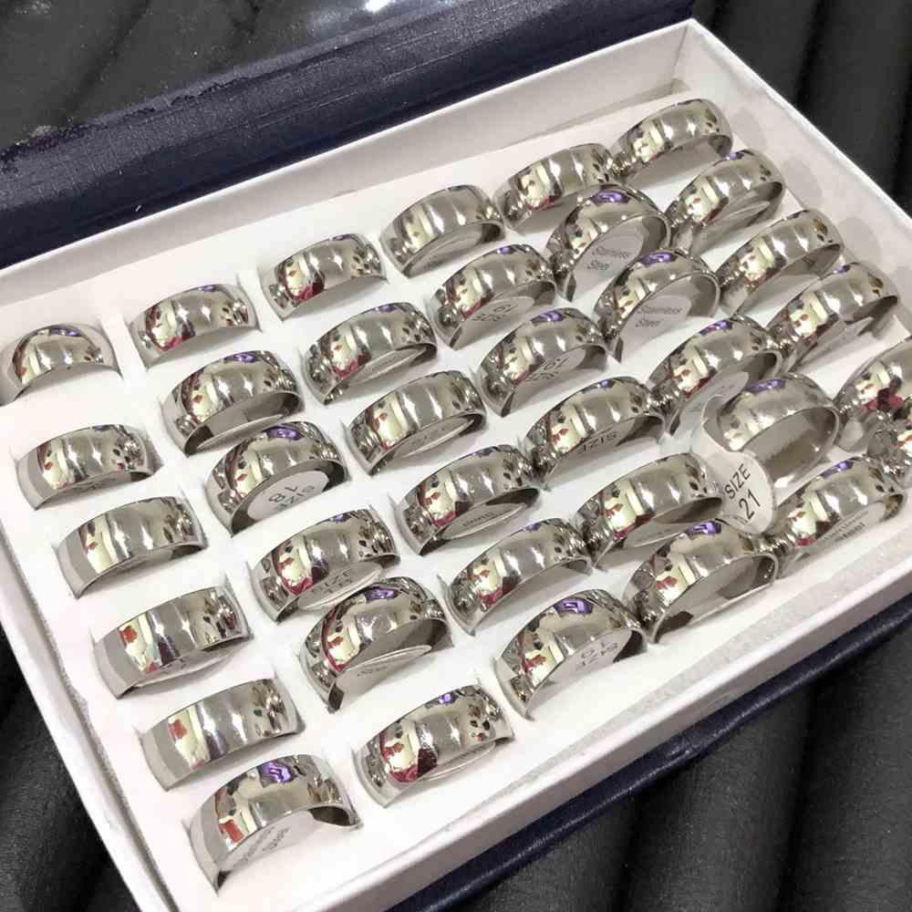 Anel alianças 8mm prata abaulada lisa polida aço inoxidável 316L caixa com 36 unidades alianças atacado