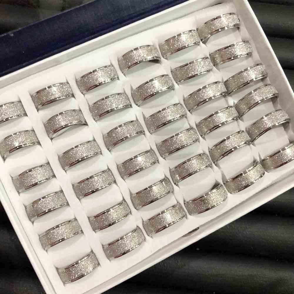 Anel alianças 8mm prata jateada diamantada aço inoxidável 316L caixa com 36 unidades alianças atacado
